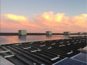 Solar panels on ECOE's Great Moor House installation at Sunset