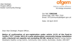 Confirmation of Ofgem pre-registration at Westbank