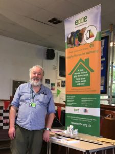 Healthy Homes for Wellbeing energy adviser Chris Walford at Sidmouth Repair in October 2019