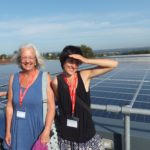 Gill Wyatt and Hertha Taverner-Wood with ECOE's Exeter College installation